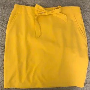 Yellow knit mini skirt